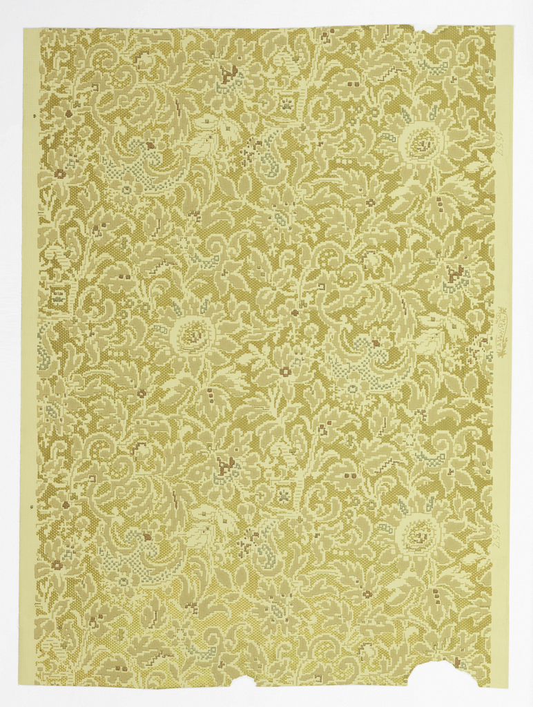 Against a pale yellow ground, an all-over floral and foliage pattern is printed in very grayed hues of brown, blue and red. Embossed and gilt areas between pattern to suggest a woven ground. An imitation brocatelle.