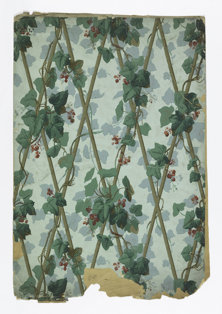 Diamond grid brown trellis with green ivy leaves, red berries entwined.