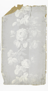 On wide gray stripes, in grisaille, large roses in vertical meandering band.