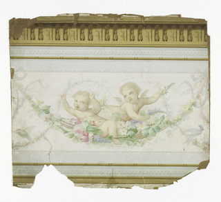 In pastel colors in white ground, two winged putti swing on garland of flowers. Humming-bird, blue bird. Top and bottom edges: imitation architectural molding - pale gray-green guilloche banding - along top edge: brown imitation molding leaf forms.