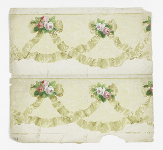 Two lengths of frieze or border printed side by side on one length; festooned crinkled white ribbon with bows and pink roses.