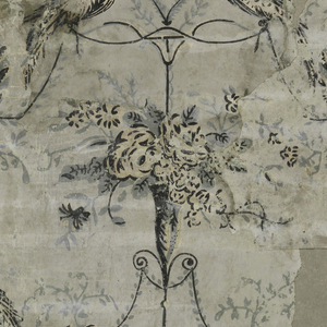 Festoons with birds and vases of flowers, gray background, printed with black, moss green and pink.