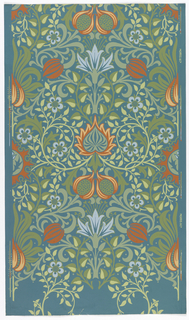Stylized floral and pomegranate design. a) Printed in red, orange, blue and green on a teal or blue-green ground; b) same design printed on an off-white ground; d) same design printed on an off-white ground.