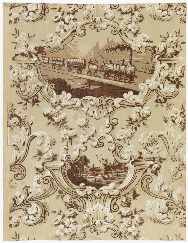 Large cartouche enframing scene of steam locomotive followed by four train cars. Smaller cartouche containing scene of seaside port, sailing vessels, trees, towered buildings. Printed in sepia tones.