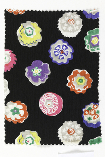 Black ground with multicolored floral pattern.