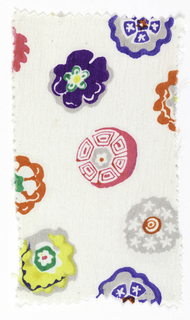 White ground with multicolored floral pattern.