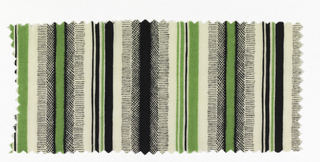 Green, white and black vertical stripes of varying widths.