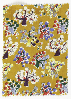 Mustard yellow ground with multicolor tree pattern.
