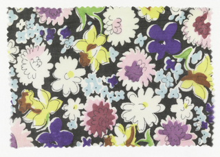 Black ground with multicolor flower pattern.