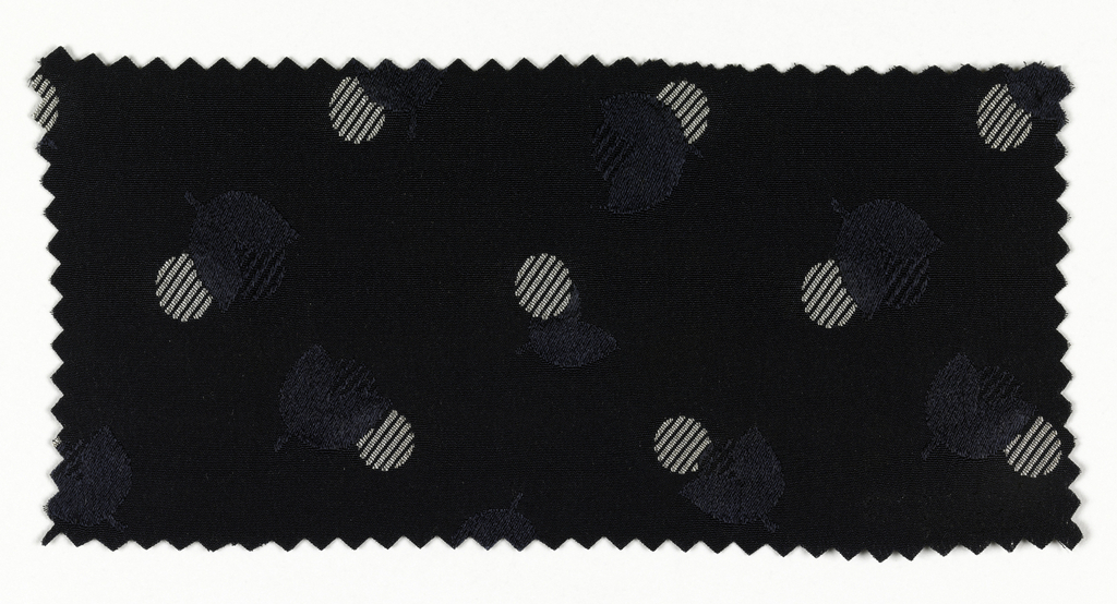 Navy blue ground, with white striped circles and navy flower buds.