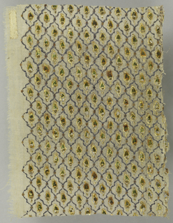 Rectangle of very fine, loosely woven undyed plain weave cotton with small-scale all-over repeat of small pointed leaf, in green enamel with gold leaf, in close-set wavy trellis framework of silver leaf; gold dot at each intersection of the trellis.  Tiny impressed dots in gold accentuate design of each leaf.  Undecorated margin on left side (1 cm).