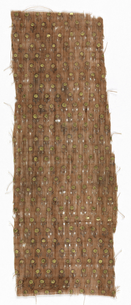 Strip of very fine, loosely woven terra-cotta cotton plain weave with minute close-set diagonal repeat of flower sprig with pair of leaves and gold dot filling blossom, drawn in black.