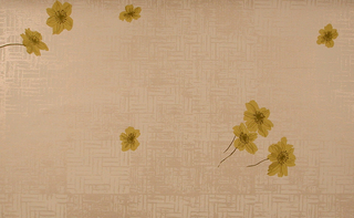 On embossed off-white ground imitating silk fabric, white basket weave fill. Sparsely-scattered over this, yellow blossoms with beige shading, chartreuse stems.