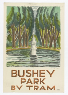 Poster design encouraging travel to Busey Park in the countryside via the London Underground's Tram. On cream ground, sketch-like drawing of a statue in the center of a fountain filled with water, surrounded by trees. Below, in brown and black: BUSHEY / PARK / BY TRAM.