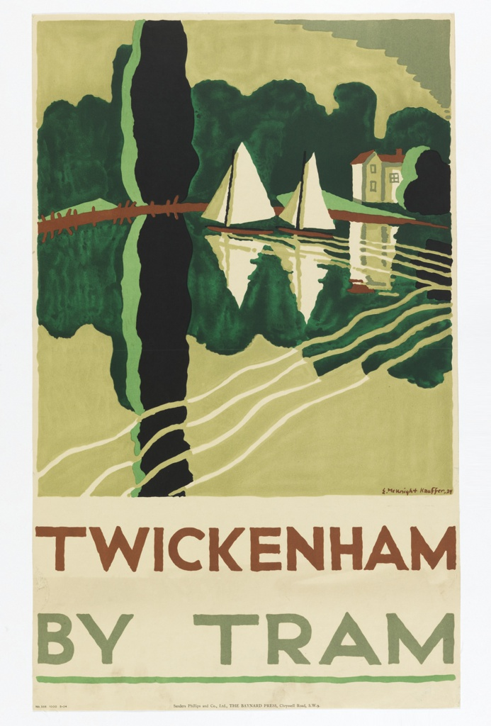 Poster design encouraging travel to Twickenham in the countryside via the London Underground's Tram. Two sailboats and house and landscape in background, all reflecting on body of water. Text below, in brown and gray: TWICKENHAM / BY TRAM.