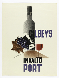 Poster advertisement for Gilbey's port wine. At center, a black bottle on a brown surface, a wine glass filled with red liquid before it. At left, a dark purple bunch of grapes with large brown leaf. Across center, in black and blue text: GILBEY'S. Lower section, in blue and black: INVALID / PORT.