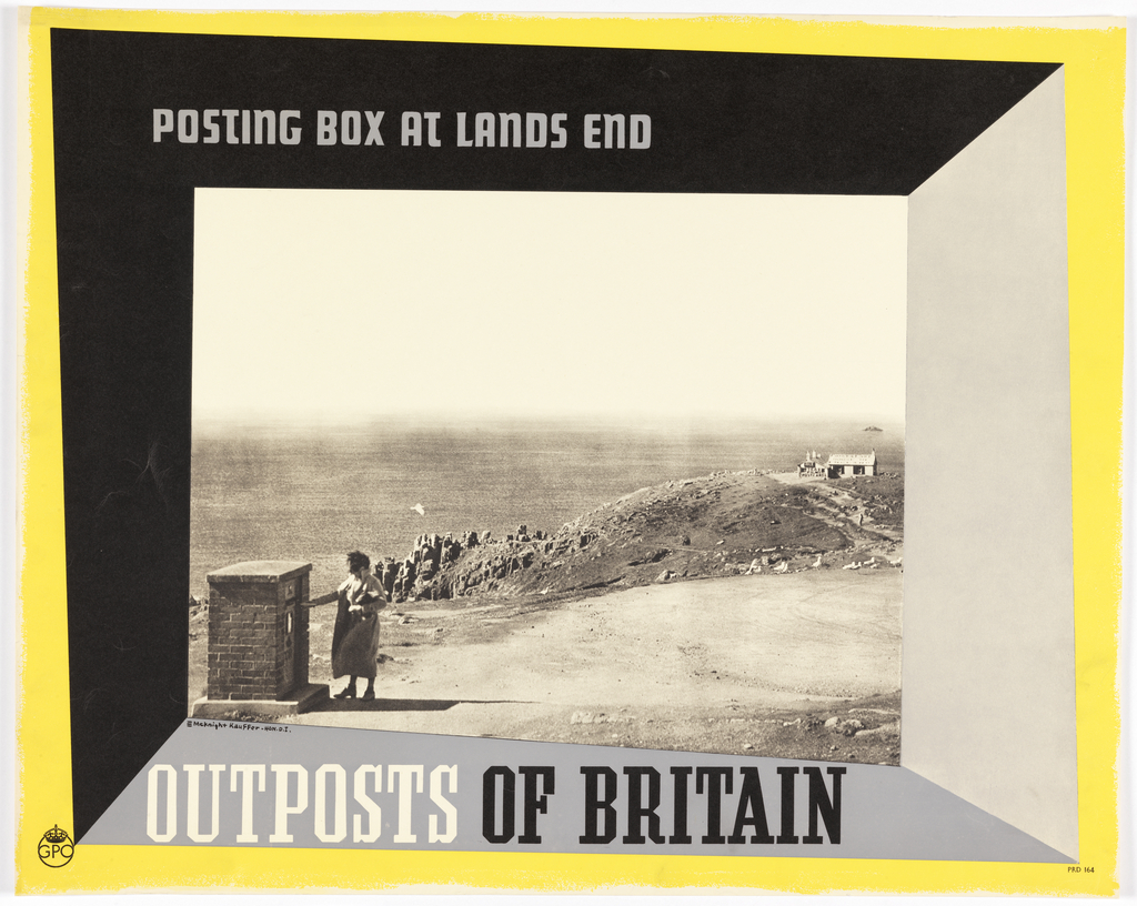 Perspectival view of a photograph of a rocky landscape, with a small house in the distance, and a woman placing something in a brick mailbox in the foreground, at left. An angular frame surrounding the image in black, gray and yellow. Text in grey, upper left: POSTING BOX AT LANDS END; lower left: OUTPOSTS OF BRITAIN