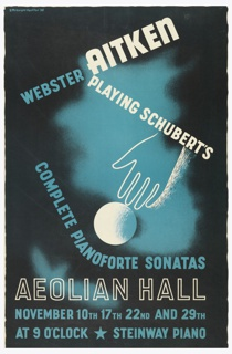 On a black and blue background, a white outline of a hand at center gesturing towards a white ball/sphere. Text in white and blue, above: WEBSTER AITKEN / PLAYING SCHUBERT'S; below: COMPLETE PIANOFORTE SONATAS / AEOLIAN HALL / NOVEMBER 10TH 17TH 22ND AND 29TH / AT 9 O'CLOCK [star] STEINWAY PIANO.