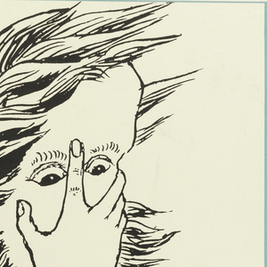 At top left, in black ink, a drawing by Lewis Carroll, of a man with hair flying in the wind, hand to face covering his nose, mouth, and large forehead. Caption in black text below: 'What I look like when I'm lecturing' / --From a drawing by Lewis Carroll. Above, in black: LEWIS CARROLL; at right, over a teal-blue rectangle: CENTENARY [vertically]; below: EXHIBITION / OF BOOKS . MANUSCRIPTS / AND DRAWINGS AT / THE OLD COURT HOUSE / J. & E. BUMPUS LTD / 350 OXFORD STREET W.1 / UNTIL JULY 31ST / ADMISSION FREE.