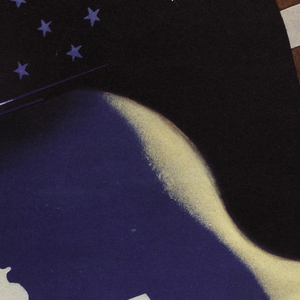 At center, a helmeted head in blue and black with white stars with blonde hair seen in profile, in front of the stripes of an American flag. Below, on a diagonal in red and blue text: LUCHAMOS / POR LA LIBERTAD DE TODOS