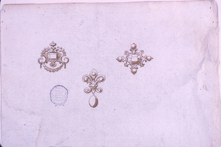 Above at left, an escutcheon with a d drapery festoon and a diamond in the center. At right, an octagonal diamond framed by volutes with pearls. In the center, a fleur-de-lys with a hanging drop.
