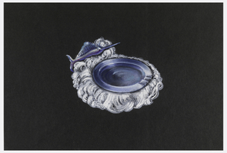 Blue-purple ashtray with three curved indentions on rim; ashtray is framed by white spray-like ornament and a blue-purple swordfish at one end.