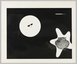 On black ground, a full moon with a mouth and wearing sunglasses; a starfish with a detailed clamshell on top of it. Upper right, in white: summer…