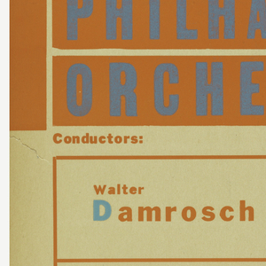 On a tan background, orange and blue squares and rectangles. Writing in blue and orange: Czechoslovak Benefit Concert / NEW YORK / PHILHARMONIC / ORCHESTRA / Conductors: / Walter / Damrosch; Hermann / Adler / Germaine Leroux soloist. Below: Czechoslovak Composers / Smetana / Martinu / Janacek / Dvorak; From Czech Meadows / Concerto for Piano / Sinfoniette / Slavic Dances; Steinway Piano / Auspices American Friends of Czechoslovakia / Carnegie Hall – January 24 – 1940.