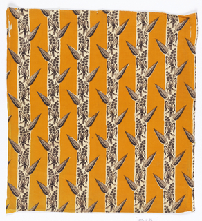 Alternate stripes of chrome orange (solid) and brown floral sprays with saw-toothed leaf.