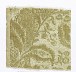 Fragment of cream-colored velvet with a stamped design of a large-scale floral design. Made in imitation of Flemish sixteenth century wool velvet.