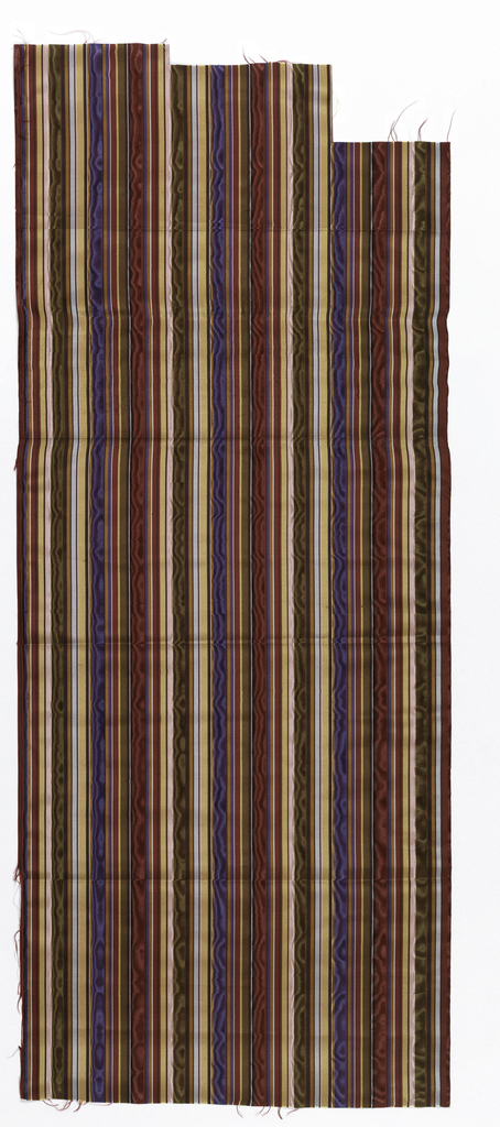 Thirteen samples of vertically-striped silk moire in various colour combinations. Stripes of different widths, but all rather narrow.
