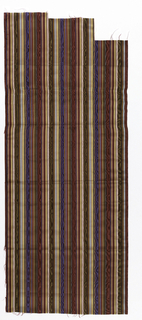 Thirteen samples of vertically-striped silk moiré in various colour combinations. Stripes of different widths, but all rather narrow.