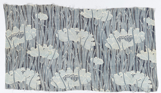 Sheer cotton textile with an all-over pattern of long, thin blades of grass with flowers and buds. In three shades of gray-blue; design entirely outlined in white.