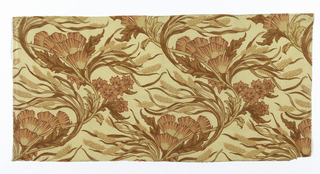 Sinuous design of windblown leaves, poppies, and wheat in red and russet on a spotted light ground.