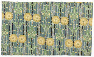Printed textile showing pattern of yellow stylized roses and green leaves on a green-grey ground with vertical black stripes.