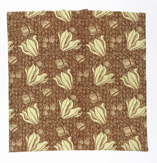William Morris inspired design of large white lilies and buds on long stems waving back and forth on a deep red ground with a small overall filling of dots and tendrils.
