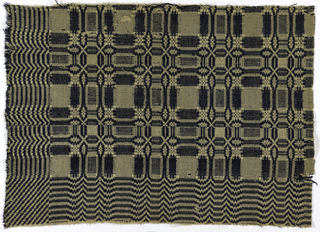 Traditional coverlet design with blocks of geometric pattern and a deep chevron border, in dark blue, indigo-dyed wool with undyed linen (or cotton).