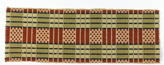 Fragment of traditional woven coverlet, with undyed cotton ground and bands of supplementary weft patterns in dark blue, sage green, and rust-red.