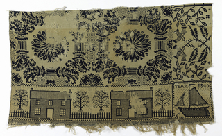 "In navy wool and cream cotton, large ornate pattern of acanthus pillars framing large rosettes, with thistles and branches and some diaper filling. Fragment ""a"" shows part of a border of plain houses flanked by small trees, and in right corner, small boat in profile, with ""Year 1840."" Reversible, with colors in interchanged positions."