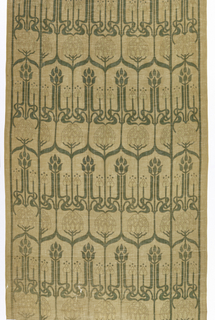 Vertically symmetrical flower and vine lattice with ogee points. Row of blossoms alternate with offset row of long slender plants with interlocked stems at base form a pattern for the field. Same elements in straight repeat form side borders of same scale. Green and light blue pattern on tan ground.