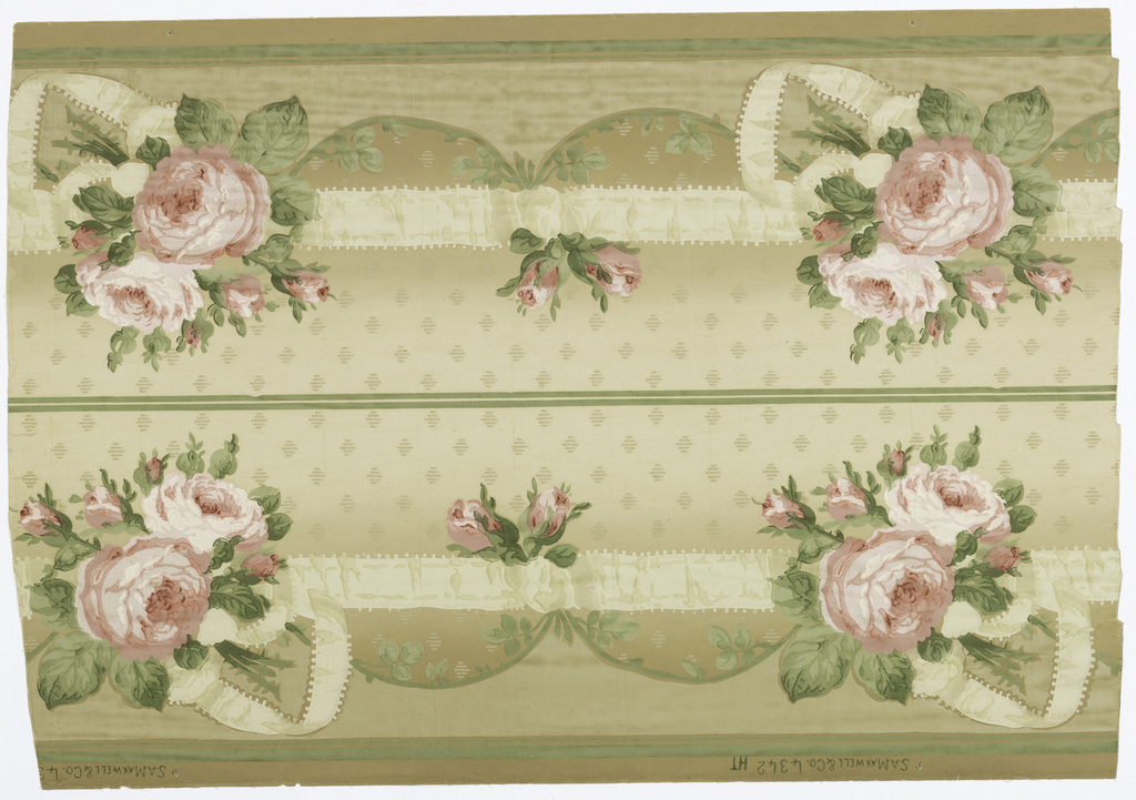 Horizontal cream ribbon connects bunch of pink roses with smaller motifs of two pink rose buds. Ground has staggered rows of striped horizontal figures; printed on graded cream and tan ground. Two identical borders to the width.