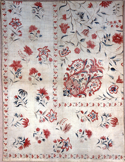 Wide border on two sides with a shaped medallion in the inner corner. Polychrome on white.  On a white field, in detached arrangement, freely drawn flower sprays in shades of red on delicate brown stems, with foliage now blue.  A corner ornament of symmetrically curving leaf scrolls in red and blue forms a medallion, in which at its base a small section formed of C-scrolls in blue, frames confronted birds on dotted red ground.  Birds' wings over-painted in small blue dabs.  Narrow guard border frames main section, below which a border, 12 inches wide, is similarly decorated with the same flower sprays and edged with the same narrow guard border; in the latter, small three leaved red flowers suggest the form of a clover leaf. Colors: Two reds, blue, a few small areas of yellow now much faded.   General character of design is very free, sketchy in style; blue in leaves unevern as though pencilled in, but vesitiges of yellow indicate the former presence of green.  Red in flowers shaded but no elaboration of veining employed.  Whole deisgn suggests a European embroidery pattern, or a block printed patter of the late 18th century. Piece is newly lined with plain white cotton.