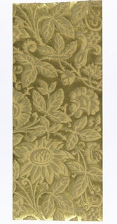 Heavy paper with floral and foliate pattern in relief; light gray-brown and orange on metallic gold ground.