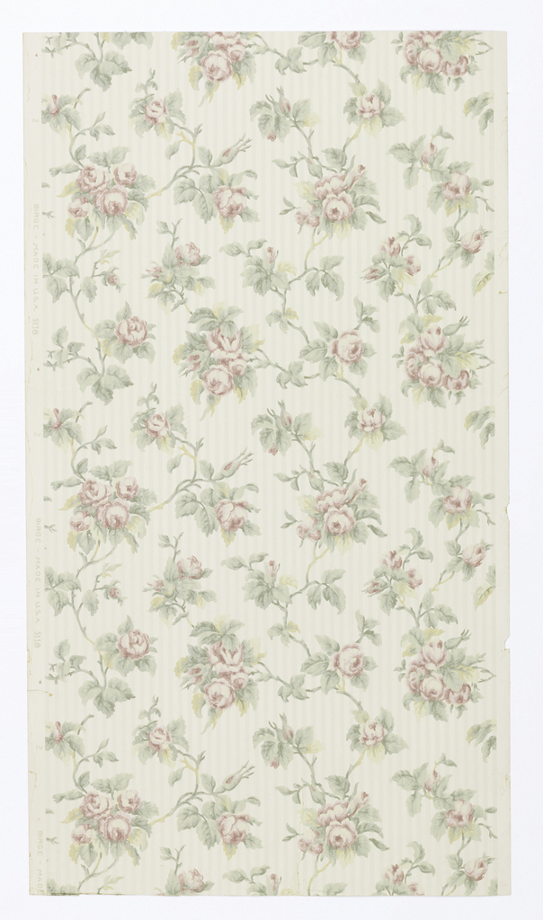 "Vining floral design; pink roses on green/olive vines, on background of narrow green stripes. Printed in selvedge: ""Birge - Made in U.S.A.  5118""."