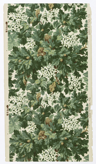 "View of an oak tree containing a squirrel holding an acorn. Tree also contains attached acorns and white flowers. Printed in green, brown and white on tan ground. Printed in left selvedge: T.S. & Co. (thistle logo); in right selvedge: ""The Wayside 2864""."