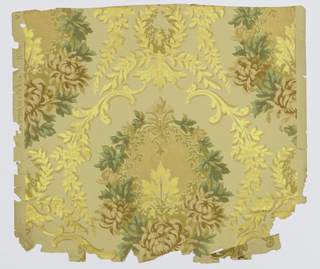 "Floral medallions enclosed within diaper pattern formed with scrolls and foliate sprigs. Printed in salmon, green, ocher and metallic gold on beige ground. Printed in selvedge: ""Benton, Heath & Co. 1076""."