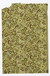 Aesthetic pattern, all-over design of small-scale flowers on red, blue, yellow and brown on ochre ground.