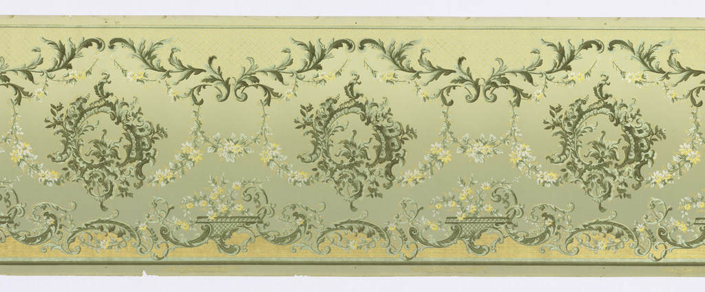 Wreathes of acanthus leaves connected by a swag of small flowers. Acanthus leaves also form undulating lines at the top and bottom of the frieze. Printed in gold, white, and shades of green.