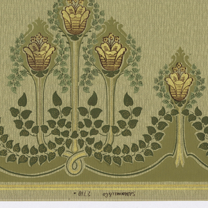 Art Nouveau or Mission style. Abstracted tulip flowers with long stems arranged in threes in a pyramid shape, with another single flower between each group of three. Small ivy leaves create a scalloped line across the bottom. The top contains another scalloped line of leaves and stems. The background contains a series of short vertical lines. Printed in yellow, purple, and shades of green.