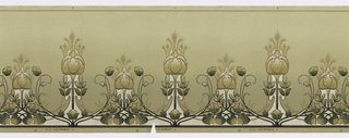Art Nouveau style. Bulb-shaped flowers, alternating between large and small, topped with several fleurs-de-lis. Background is decorated with a series of small dots. Printed in white and shades of beige and green.